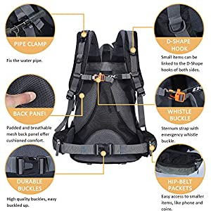 Diamond Candy 40L Hiking Backpack Waterproof with Rain Cover for Outdoor Camping Travel, Black