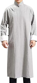 RkBaoye Men Thermal Kung Fu Frog Button Below The Knee Trench Coat