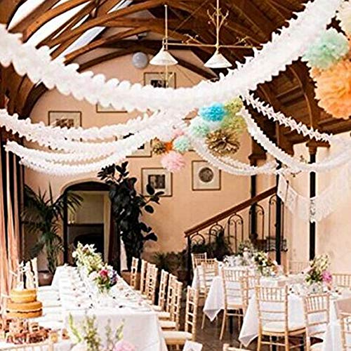 6 Pieces 11.8 Feet 4-Leaf Hanging Clover Garland Tissue Paper Flowers Garland Reusable Party Streamers for Party Decorations Wedding Decorations (White)