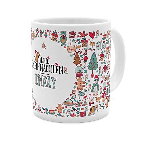 printplanet Tasse mit Namen Emely - Motiv Frohe Weihnachten - Namenstasse, Kaffeebecher, Mug, Becher, Kaffeetasse - Farbe Weiß
