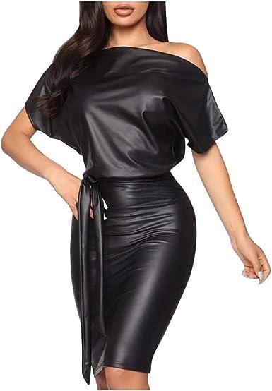 Holywin Mode Robe En Cuir Femme Couleur Unie A Manches Courtes Robe Longue Chauve Souris Imprimee Amazon Fr Vetements Et Accessoires