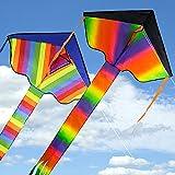 2 Pezzi Grande Aquilone Colorato Aquilone per Bambini Esterna di Volo Giocattoli Grande Principiante Kite Aquiloni con Corda Lunga da 100m