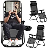 Zero Gravity Recliner Chair Patio Lounge Chairs,Anti Gravity Locking Chaise Recliner Support 220lbs,Folding Recliner Chairs for Living Room w/Headrest & Cup Holder (2 Pack w/Cup Holder, Black)