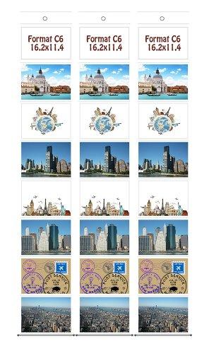 Trendfinding 3 Fotohalter im Postkartenformat C6 Foto Bilder Karten Halter Fototasche Fotowand Kartenhalter Querformat mit 8 Taschen 11,4 cm x 16,2 cm