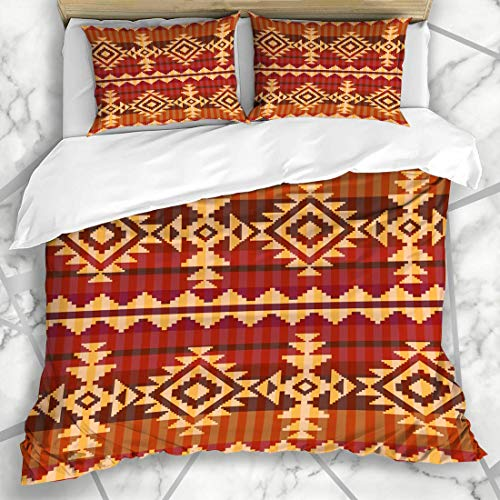 Soefipok Duvet Cover Sets Art Indian Navajo Abstract Pattern Aztec Geometric American Native Carpet Culture Design Microfiber Bedding with 2 Pillow Shams