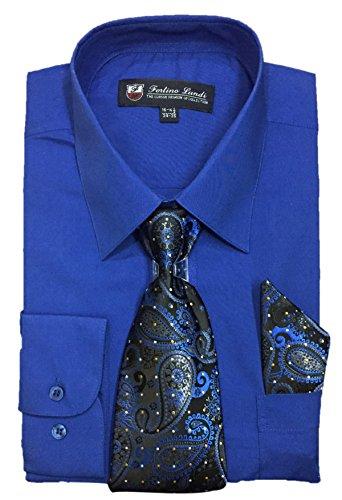 "Fortino Landi Men's Long Sleeve Dress Shirt with Matching Tie and Handkerchief (19-19.5"" Neck 36/37"" Sleeve (XXXLarge), Royal Blue)"