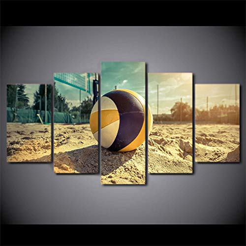 Sztuka ścienna obraz - wydruki na płótnie boisko do siatkówki, siatkówki, obrazy olejne do domu nowoczesne abstrakcyjne obrazy ścienne 5 paneli zestaw dekoracja ścienna do salonu