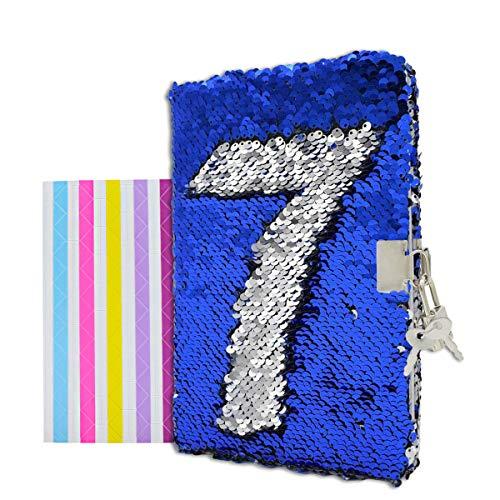 VIPbuy Reversible Pailletten Notizbuch Tagebuch mit Schloss A5 Liniert + 1 Stück Fotoecke für Kinder Mädchen, 215 x140mm, 156 Seiten, Blau zu Silber