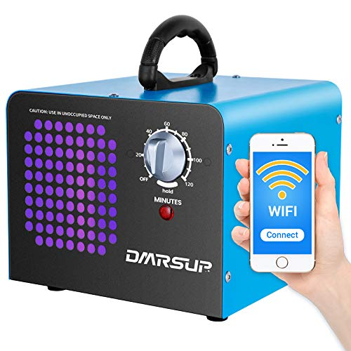 DMRSUP Commercial Ozone Generator 2.0 APP Control 6000 mg/h Air Purifier Ionizer - High Capacity O3 Machine for Large Rooms, Cars, Pets, Blue
