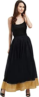 Fusion Beats Women Black Solid Poly Cotton Skirt