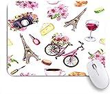 SUHOM Gaming Mouse Pad Rutschfeste Gummibasis,Paris Stil Blumen Fahrrad Wein Käse Kosmetik Kaffeetasse Makronen Eiffelturm,für Computer Laptop Office Desk,240 x 200mm