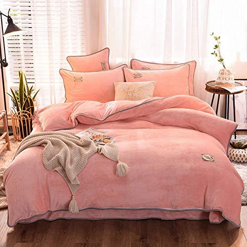 RESUXI Teddybär Fleece Bettwäsche Set, Coral Velvet Thick Warm doppelseitige Bettwäsche Bettbezug, Fleece Bettbezug Set Double, King Size Bettwäsche Set@G_1.8m Bett (3 Teile)