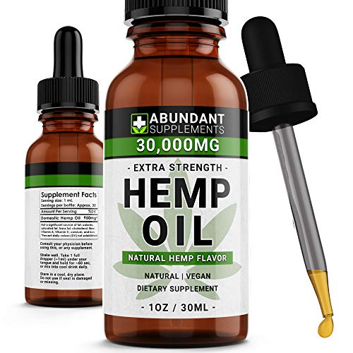 Hemp Oil 30,000mg - Premium Formula for Pain Relief, Anxiety, Depression & Stress - 950mg Per Serving x 30 Servings - Anti-Inflammatory Omega 3/6  Organic & Non GMO  Hemp Flavor