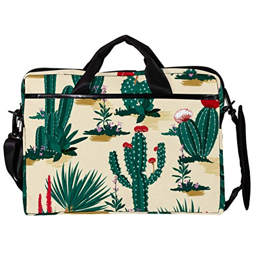 Mochila unisex para ordenador o tableta, ligera, bolsa de viaje de lona, 13.4-14.5 pulgadas, con hebillas, cactus verde, flores rojas del desierto