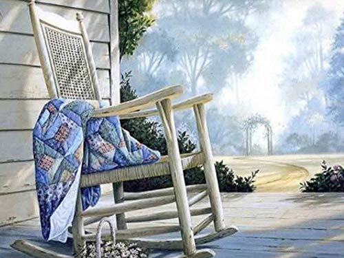 DIY 5D Diamond Painting Kits Wooden Rocking Chair in The Yard Full Drill Diamond Painting for Adults and Kids,Round Diamond Art Perfect for Relaxation and Home Wall Decor Gift16X20 inch