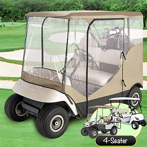 North East Harbor Waterproof Superior Beige and Transparent Golf Cart Cover Enclosure for Club Car, Ezgo, Yamaha, Fits Most Four-Person Golf Carts