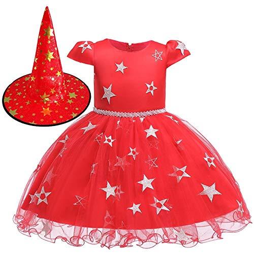 Peanutaso Disfraz de Halloween Disfraces para niños Cosplay Niñas Vestido de Princesa Falda de Bruja Disfraces de Bruja con Gorras