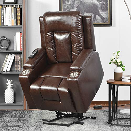 BTM Power Lift Chair Electric Riser Recliner for Elderly Leather Sofa Recliner Armchair Living Room Chair with Side Pocket and Cup Holders, Functional w/Remote Control, Brown