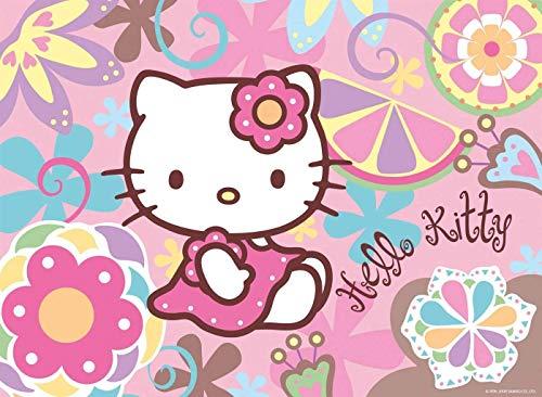 Hello Kitty Tortenaufleger, Rechteckig A4 - Geburtstag Tortenbild Zuckerbild Tortenplatte Oblate Kuchenzuckerplatte