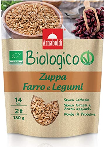 Arnaboldi Zuppa Pronta Senza Glutine Biologica Farro e Legumi Vegano [1 Zuppa Pronta da 130g]