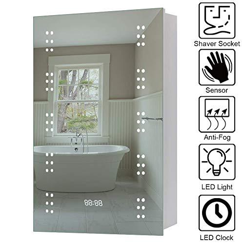 WarmieHomy Badzimmer Spiegelschrank mit LED Beleuchtung, Sensorschalter, Steckdose, Digital Uhr 70x50x13cm (HxBxT)