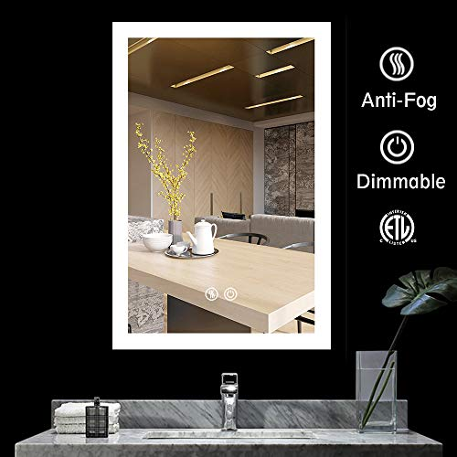 BATH KNOT Bathroom Smart Backlit Lighted Mirror with Defogger and Touch dimming Switch, Very Light White Color Make Up Vanity Mirror, 24 x 36 Inch