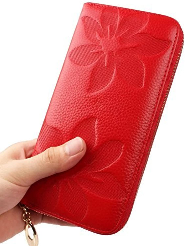 Aladin Womens Genuine Leather Zipper Around Clutch Wallet