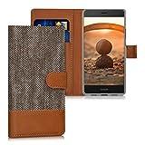 kwmobile Huawei P9 Lite Hülle - Kunstleder Wallet Case für Huawei P9 Lite mit Kartenfächern & Stand - Hellgrau Braun