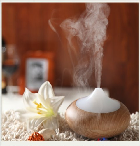 DecentGadget Ultrasonic Humidifier Essential Oil Diffuser - Colorful Fragrance SPA Aroma Diffuser Air Humidifier// DecentGadget umidificatore ad ultrasuoni Olio essenziale Diffusore - Colorful Fragranza SPA Aroma Diffusore umidificatore (Light Oak)