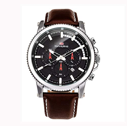 QZPM Reloj Impermeable de Cuero de Moda para Hombres, Casual Pantalla De Calendario Multifuncional Movimiento Militar Relojes De Cuarzo Analógico,Marrón