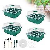 Set di 4 mini serre in plastica con attrezzi da giardino, piccolo e etichetta per piante, 12 fori, colore verde