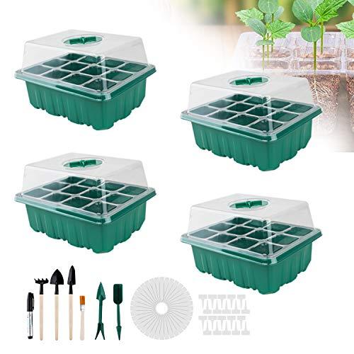 4 Stücke gewächshaus klein, Zimmergewächshaus Anzuchtkasten, Mini Gewächshaus Anzucht Set, Kunststoff Anzuchtschalen mit Gartengeräte Klein und Pflanzenetikett, 12 Löchern - Grün