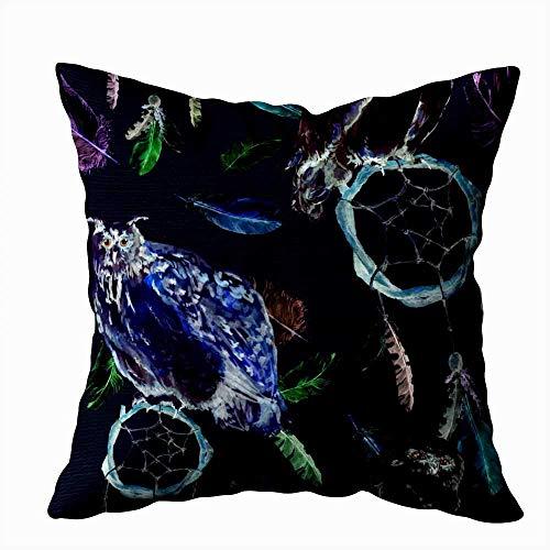Funda de almohada para el hogar, 50,8 x 50,8 cm, plumas, búho, pájaro, atrapasueños, atrapasueños, fondo negro, patrón repetido, decoración fundas de almohada con cremallera para sofá cama