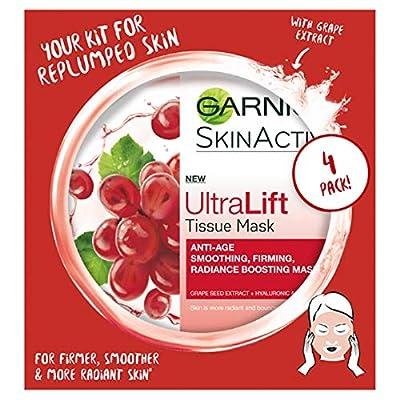 Garnier Ultralift Anti Ageing Tissue Mask, Radiance Boosting Tissue Face Sheet Mask Pack of 4