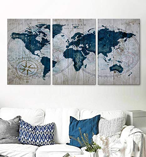 Original by BoxColors LARGE 30'x 60' 3 panels 30x20 Ea Art Canvas Print old Map World blue beige Travel Wall home living room decor (framed 1.5' depth) M1953