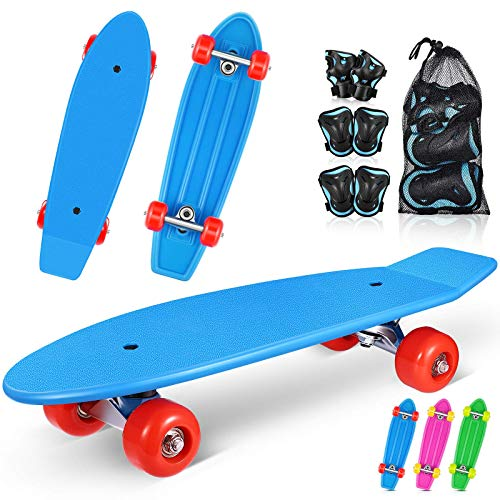 MOVTOTOP Skateboards for Kids 215#039#039 Mini Cruiser Skateboards for Beginners with 6 in 1 Protective Gear Set Complete Skateboard for Girls and Boys 36