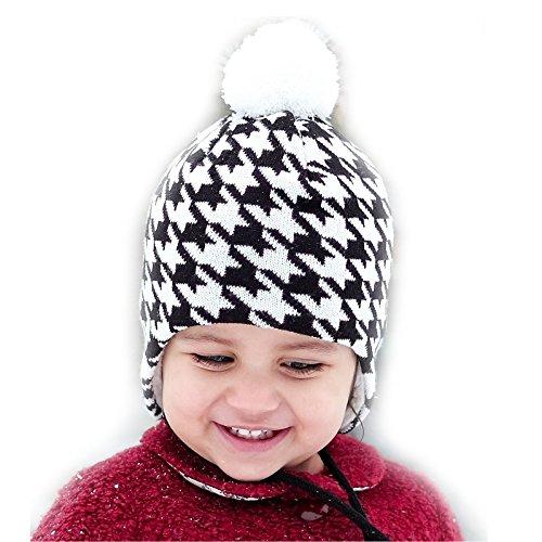 Jan & Jul Bequeme Baby Strickmütze Hut für Herbst Winter, Ohrenschützer (S: 3 – 12 Monate, Pepita Muster)