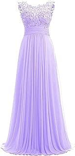 Women Beaded Chiffon Long Bridesmaid Dresses Formal Wedding Guest Gown