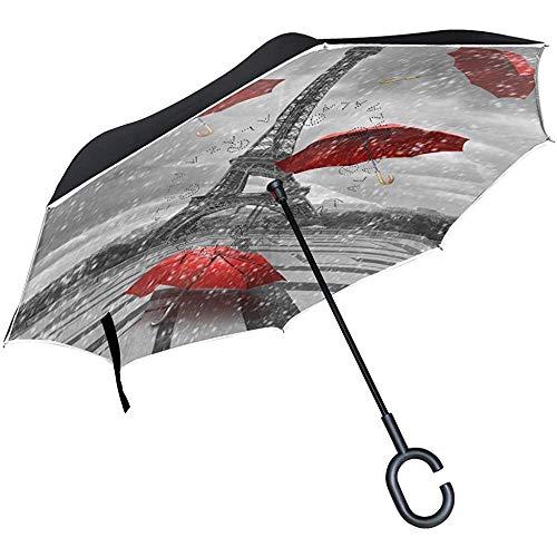 Paysage Urbain Paris Parasol inversé France Tour Eiffel, Grand Double Couche extérieur Pluie Soleil Voiture Parapluie réversible