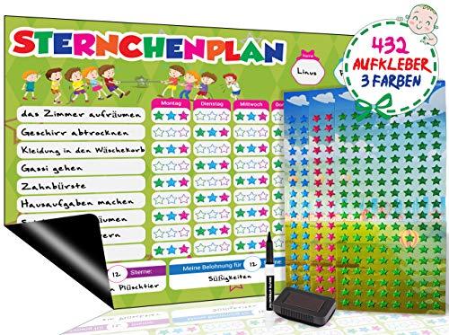 Brute Strength - Wochenplaner Abwischbar Magnetisch,Magnetischer Sternchenplan/Belohnungstafel für bis zu DREI Kinder Feste Tafel, 42 x 30 cm