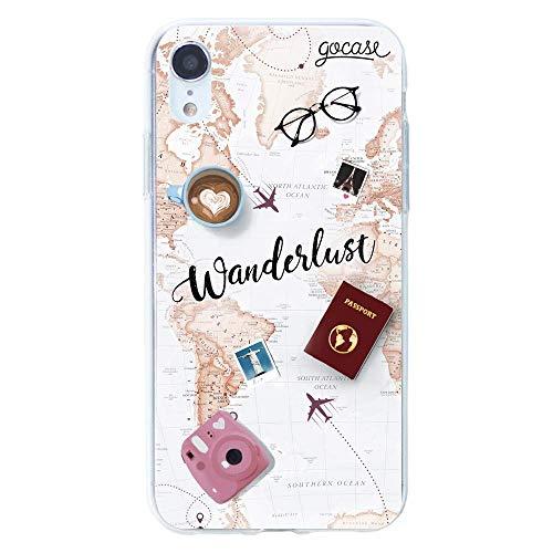 Gocase Wanderlust hoes | Compatibel met iPhone XR | Transparant met bedrukte siliconen doorzichtige TPU beschermhoes krasbestendig telefoonhoes | Wereldreis vliegen reizen avontuur oceaan Backpacker