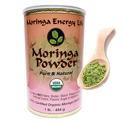 Moringa Energy Powder USDA Organic - 1 lb. Feel Health & Energy with Our 100% Pure Natural Raw Organic Super Food - 112 Serving. Great in Drinks and Smoothies.
