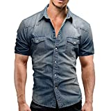 Men Short Sleeve Button Down Shirt Casual Slim Fit with Pocket Top Blouse (XL, Blue)