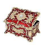 HOSEN Joyero vintage de metal esmaltado multicapa con diamantes, rectangular rojo adornado con acabado antiguo, caja organizadora grabada y diseño de 2 capas, 18 x 12,7 x 8,9 cm (rojo, L)