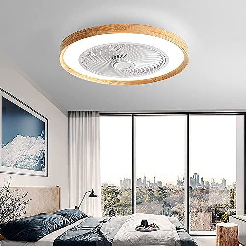 Ventilatore Plafoniera bassa con telecomando Silenzioso Plafoniera contemporanea Dimmerabile 3 velocità Lampada da soffitto rotonda in legno per soggiorno Camere da letto Corridoio Ufficio Salotto M