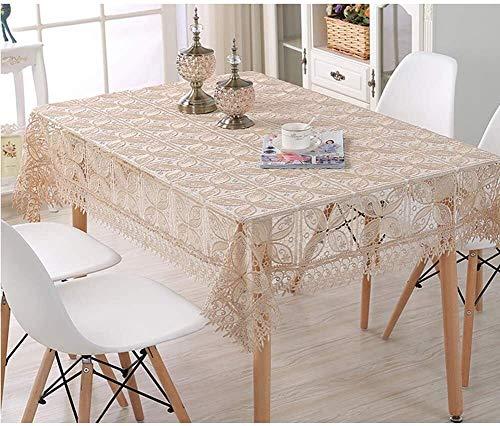 ccfgh Spitze rechteckige Tischdecke bestickte Tischtuch ländlich hohl einfache Tischabdeckung Abendessen nach Hause dekorativ (Color : Brown, Size : 130+#215;180cm)