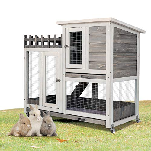 Scurrty Rabbit Hutch Indoor and Outdoor Bunny Cage on Wheels Guinea Pig Cage Deep No Leak Pull Out Tray Coop Bunny Cage Guinea Pig House with Stair Waterproof