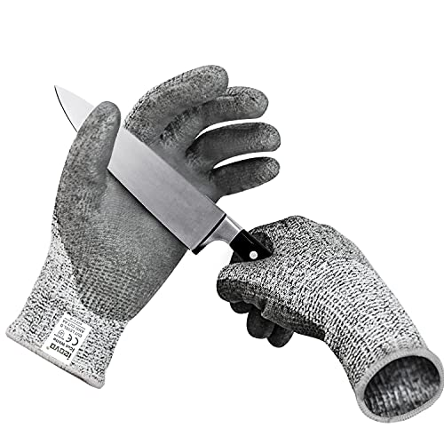Comfortable PU Coated Level 5 Protection Cutting Work Gloves, Food Grade Safety Hand Protection Gloves for Kitchen Woodworking (Medium)