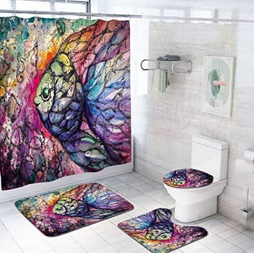 Farbe Comic Fisch Duschvorhang Set Wasserdicht, Badematte , Rutschfester Badezimmerteppich, Deckel Wc-Abdeckung Und 12 Haken Für Badezimmer