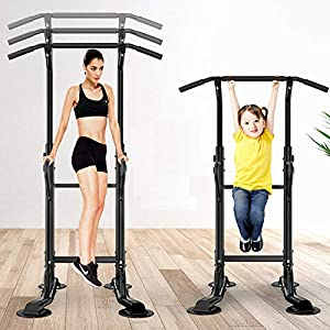 soges Power Tower Adjustable Height Pull Up & Dip Station Multi-Function Home Strength Training Fitness Workout Station, PSBB002